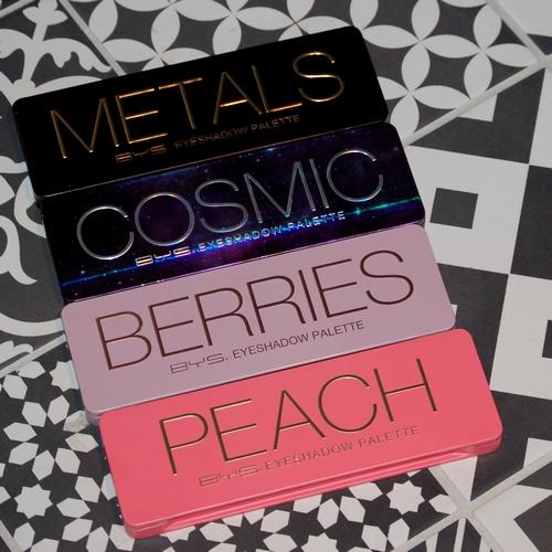 Les palettes BYS : Metals, Cosmic, Berries et Peach